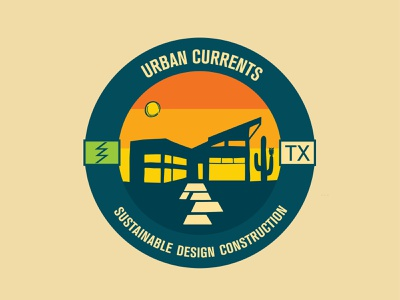 Urban Currents eco home modern sustainable construction texas landscape illustration logo design electric sunrise sunset sun owl cactus architecture branding design logo