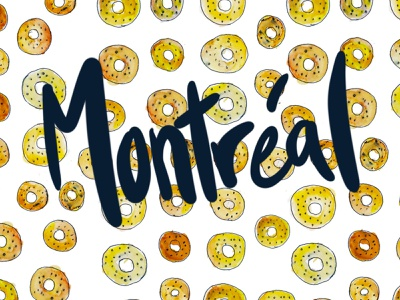 Montreal Flavour typography food illustration illustration watercolour drawing food montreal bagels