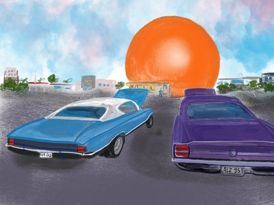 Orange Julep diner summer vintage cars architecture digital art illustration vintage retro montreal orange julep cars