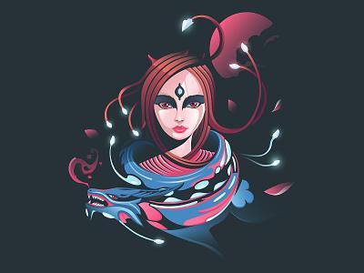 Enchantress sorceress enchantress vectorart vector art vector illustration girl character girl illustration girl dragon