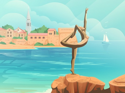 Old town in Budva landscape montenegro budva summer olld town town statue sea vector illustration