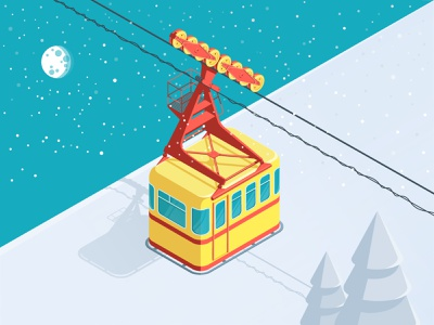 Funicular illustration vector isometric isometry mountain snow funicular