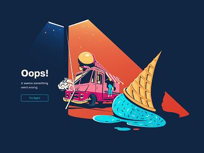 Error page. Illustration lamppost ui design ui vector landing website web crash crashed van ice cream page not found empty state oops error 404 illustration