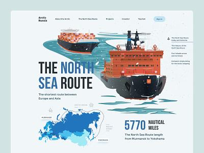 The North Sea Route landing landing page web design route ui illustration website map iceberg north sea route sea cargoship ice breaker arctic
