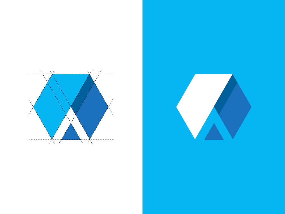 A + Hexagon logo concept flat icon minimal clean brand art monogram illustrator vector design logo identity branding