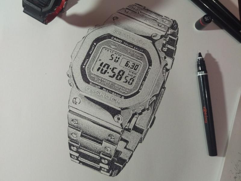 Stippling - Casio G-Shock drawing illustration pointillism stippling