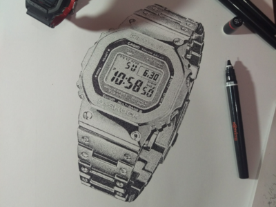 Stippling - Casio G-Shock drawing