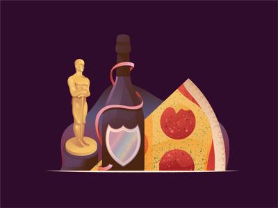And the Oscar goes to... film champagne oscars pizza stilllife scene illustration illustrator miguelcm