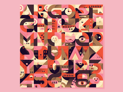 36daysoftype 07 completed! 36daysoftype typography abstracts geometry scene illustrator dailychallenge miguelcm