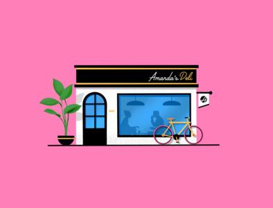 Amanda's Deli shop plant cycle procreate couple deli scene illustration miguelcm