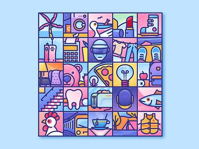 Tiles! geometry bold outline linework illustration illustrator miguelcm