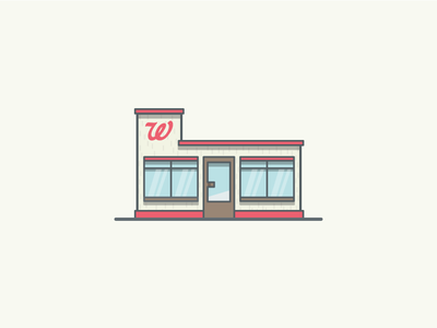 Walgreens Pharmacy architecture building drugstore pharmacy walgreens thick lines linework illustrator illustration miguelcm