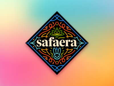 Safaera! sticker lettering neon linework illustration illustrator miguelcm