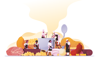 Still life cocido vector people pumpkin meat potato cooking food stilllife scene illustration illustrator miguelcm