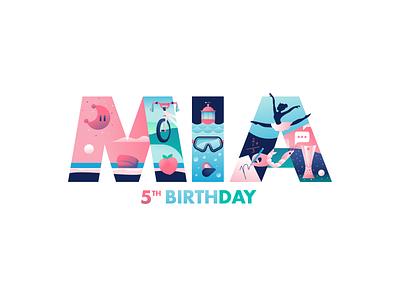 Mía 5th Birthday birthday scene illustrator illustration family daughter mia miguelcm