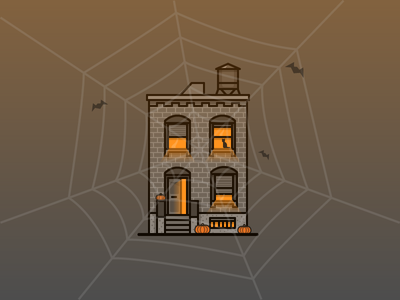 Halloween house miguelcm illustration illustrator halloween building architecture pumpkin spiderweb bat night boo