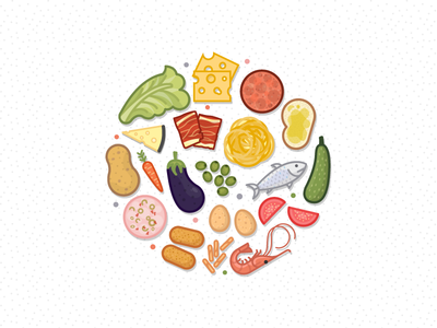 Fffood miguelcm illustrator food ham fish lettuce tomato deli cheese shrimp