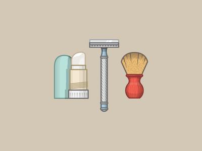 Shave items miguelcm illustrator illustration razor shave cream beard shaving brush soap