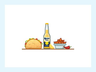 Mex Meal meal mex chili lemon nachos beer corona taco food illustrator illustration miguelcm