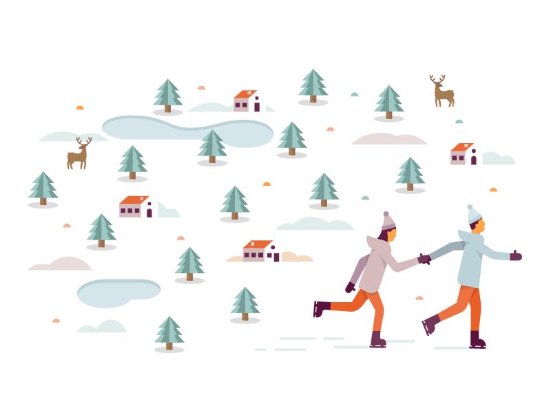 Xmas Ice Rink couple winter snow xmas ice skate illustrator illustration miguelcm