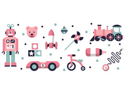 Toys baby sleighbell yoyo rocket bear car robot toys illustration illustrator miguelcm