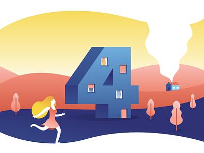 4! landscape trees building girl blobby playoff four illustration illustrator miguelcm