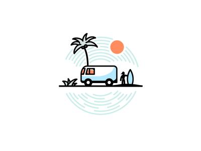 High by the Beach summer beach sun surf california van waves surfer illustrator illustration miguelcm