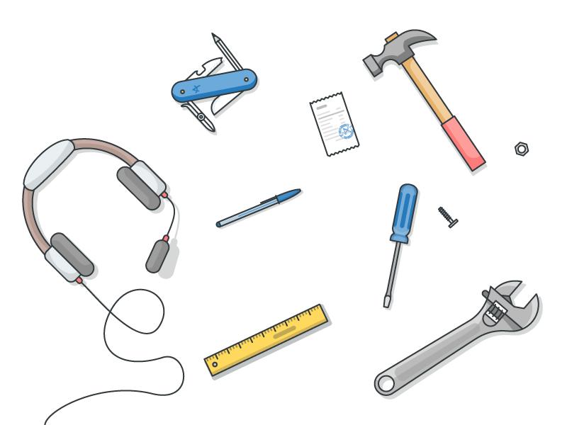 Tools flat linework aplazame headphones tools ui illustration illustrator illustration miguelcm