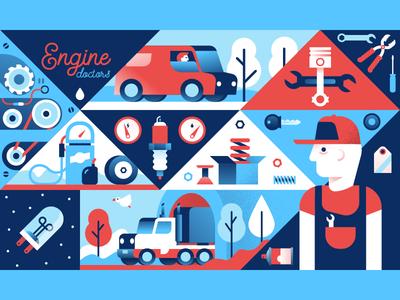 Engine Doctors character van truck tools repair engine workshop illustrator illustration miguelcm