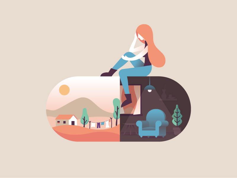 Depression psychology woman melancholia depression capsule pill illustration illustrator miguelcm