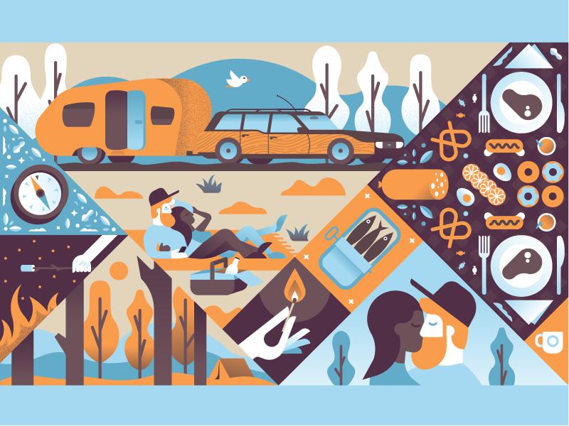 Picnic caravan car trees marshmallow food field forest people picnic illustrator illustration miguelcm