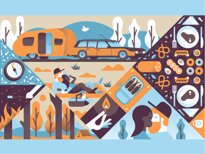 Picnic caravan car trees marshmallow food field forest people picnic illustrator illustration miguelcm
