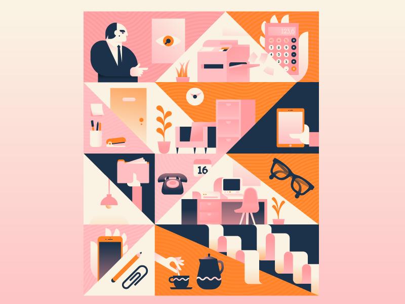 Office Scenes plants work people phone modern midcentury office illustration illustrator miguelcm