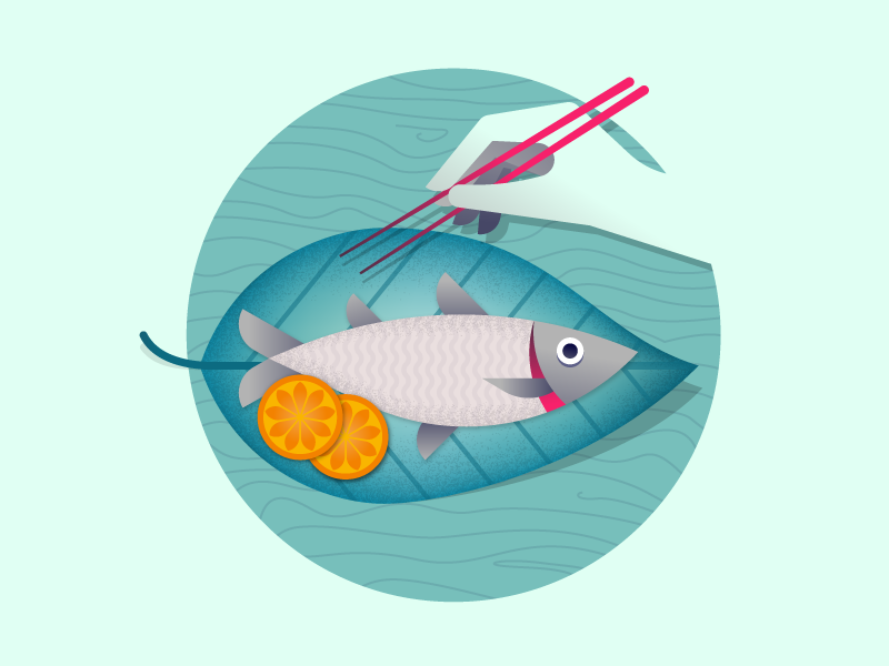 Tropical Food paradise wood plants leaf fresh tropical food asia fish illustrator illustration miguelcm