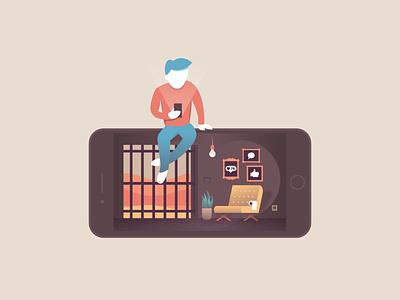 Addiction psychology people guy jail addiction phone illustration miguelcm
