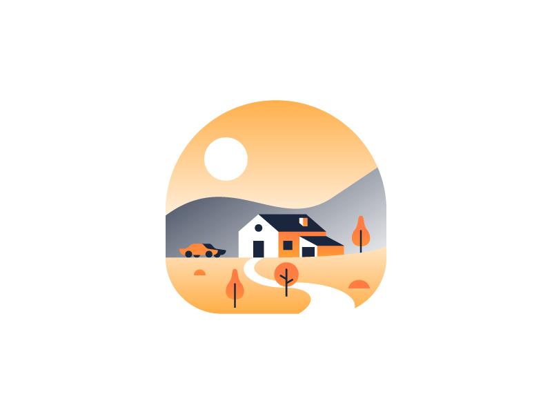 Discarded scene tree sunset car house landscape scene illustration illustrator miguelcm
