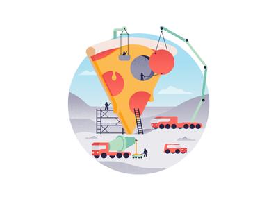 Building Pizza crane work pizza cheese pepperoni trucks food illustration illustrator miguelcm