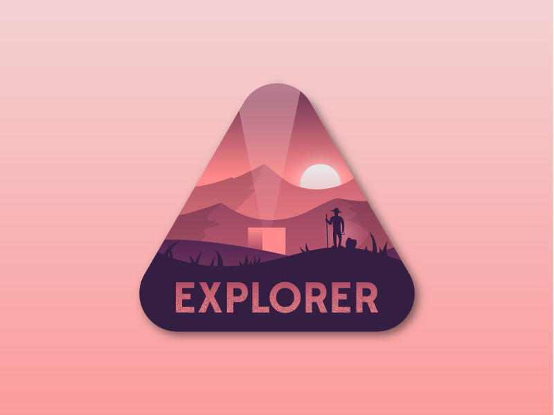 Explorer - Treasure scene mountains landscape treasure discover explorer badge illustrator illustration miguelcm