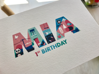 Mia 1st birthday postcard 01