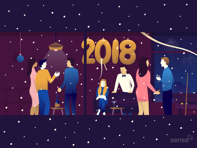 Happy New Year! manu gamero new year eve scene party sensa design flat illustration miguelcm
