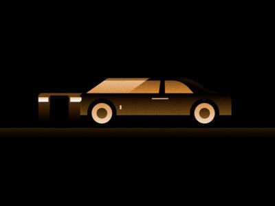 RR bling deluxe lust rolls royce phantom vehicle flat illustrator illustration miguelcm