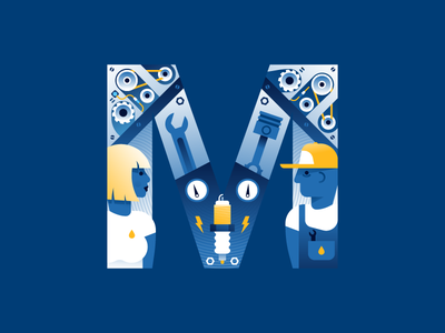 M | mechanics equality m car repair lettering typography type letter 36daysoftype illustrator illustration miguelcm