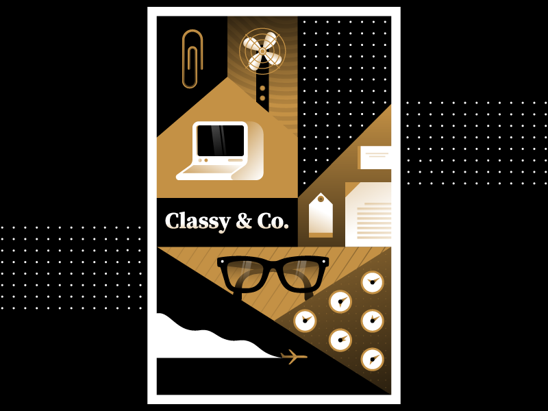 Classy & Co. time glasses airplane business retro classy computer office vector illustration miguelcm