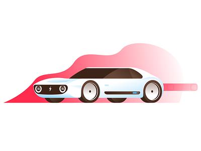 Electric Car sports ev concept honda electric fast car vehicle illustration flat illustrator miguelcm