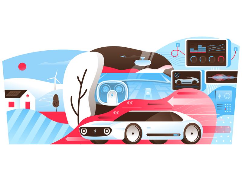 Electric Car vehicle sports miguelcm illustrator illustration honda flat fast ev concept electric car
