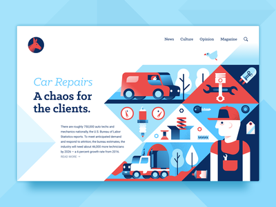 Opinion page: Car Repairs clients chaos repair car page web uidesign ux ui illustration miguelcm