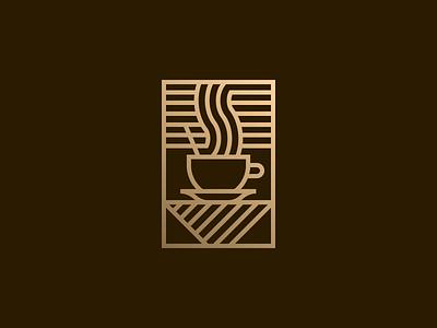 Coffee scene miguelcm premium lines illustrator afternoon scene coffee gold badge