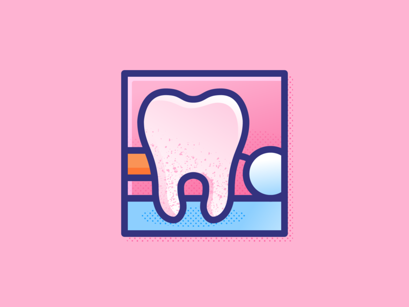 018 Tooth dentists flat outline dentist tooth dailychallenge illustrator illustration miguelcm