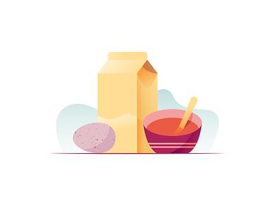 032 Borscht soup milk dairy egg still life flat wonky illustration miguelcm
