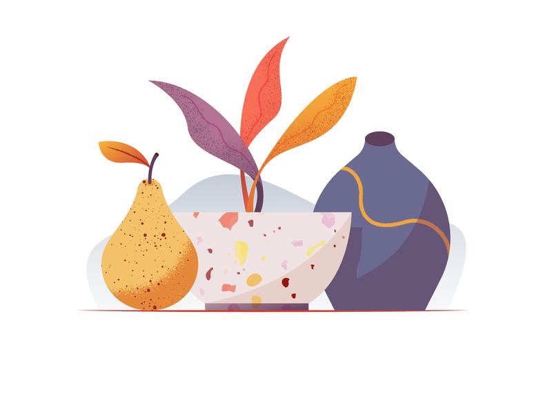 034 Flowerpot still life dailychallenge terrazzo vessel pear ceramic plant flowerpot miguelcm